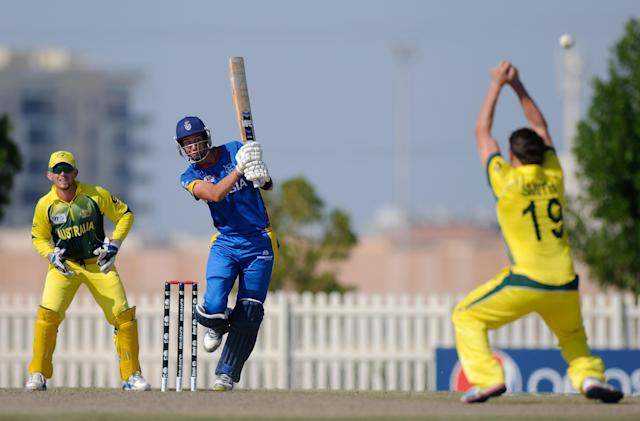 ABU DHABI, UNITED ARAB EMIRATES - FEBRUARY 15: JJ Smit of Namibia bats during the ICC U19 Cricket World Cup 2014 match between Australia - U19 and Namibia - U19 Played at the Sheikh Zayed Stadium Nursery 2, Abu Dhabi on February 15, 2014 in Abu Dhabi, United Arab Emirates. (Photo by Pal Pillai-IDI/IDI via Getty Images)