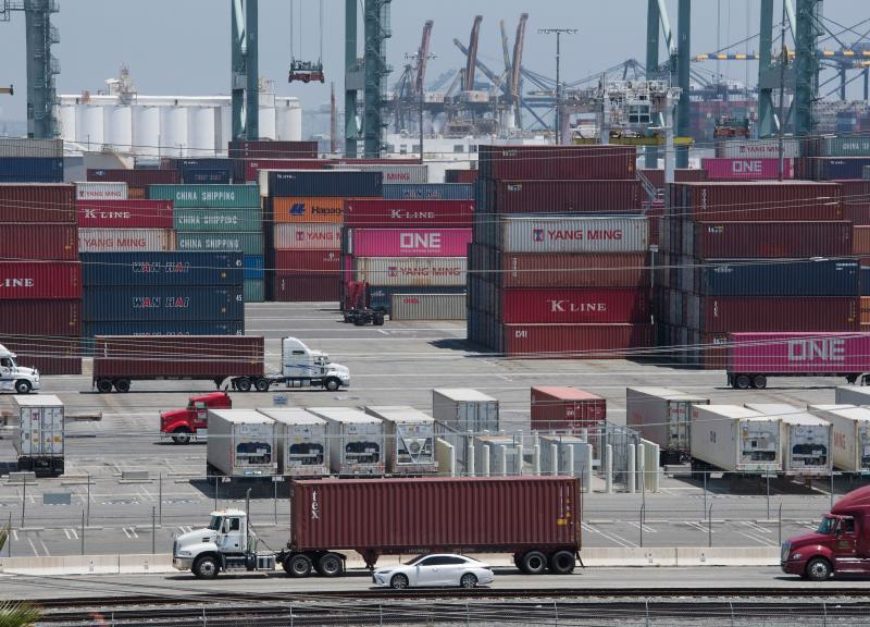 Shipping containers from China and Asia are unloaded at the Long Beach port, California on August 1, 2019. - President Donald Trump announced August 1 that he will hit China with punitive tariffs on another $300 billion in goods, escalating the trade war after accusing Beijing of reneging on more promises. (Photo by Mark RALSTON / AFP) (Photo credit should read MARK RALSTON/AFP/Getty Images)