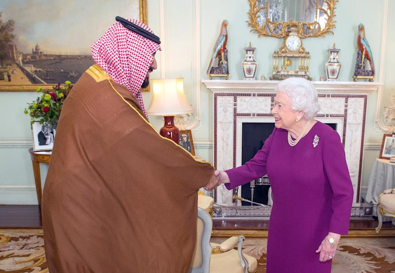 As part of a tour of Western countries to promote the changes he's making in Saudi Arabia, Crown Prince Mohammed bin Salman visited the United Kingdom, where he met with Queen Elizabeth, March 7, 2018. (POOL New / Reuters)