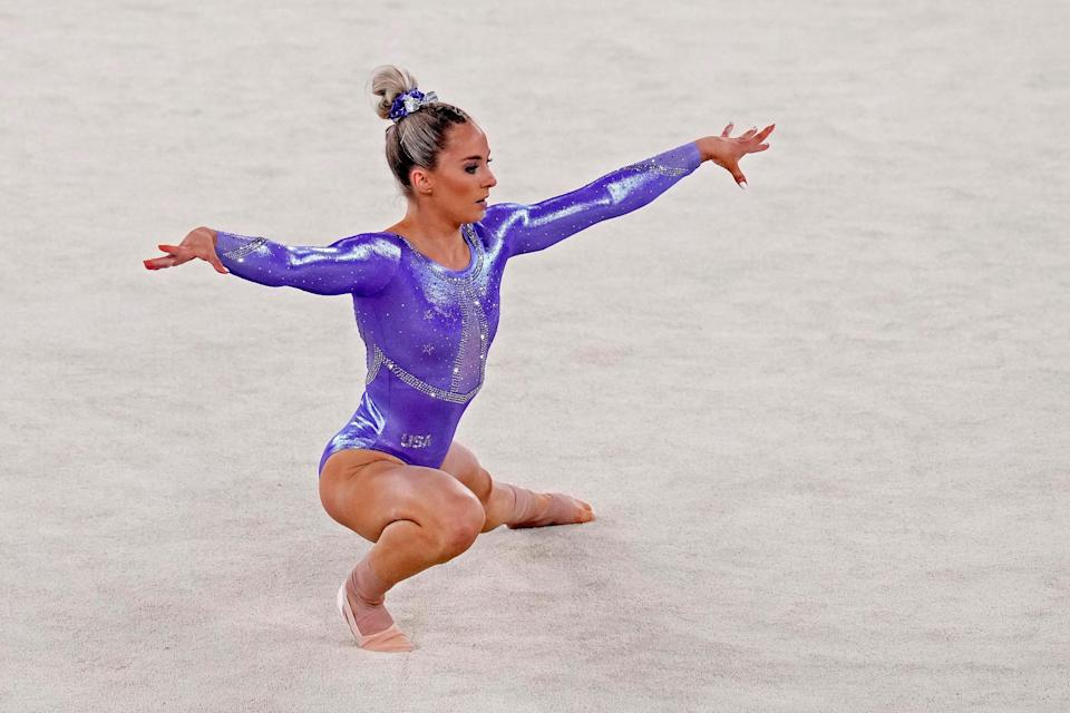 MyKayla Skinner practices on the floor during Podium Training at Ariake Gymnastics Centre on July 22, 2021, in Tokyo, Japan.