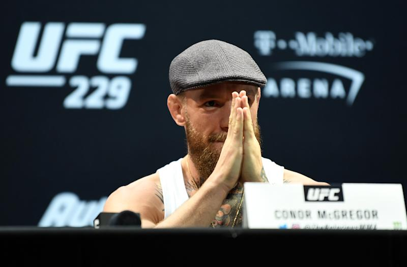 LAS VEGAS, NEVADA - OCTOBER 04: Conor McGregor speaks during the UFC 229 Press Conference inside The Park Theater at Park MGM on October 4, 2018 in Las Vegas, Nevada. (Photo by Jeff Bottari/Zuffa LLC/Zuffa LLC via Getty Images)