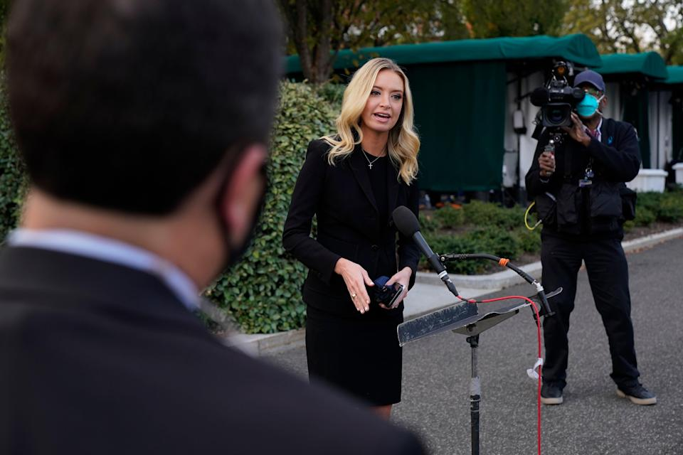 Kayleigh McEnany has tested positive for Covid-19, just one day after speaking to press without a mask (AP)