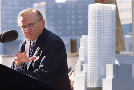 File photo of developer Larry Silverstein at unveiling for new 7 World Trade Center in New York.