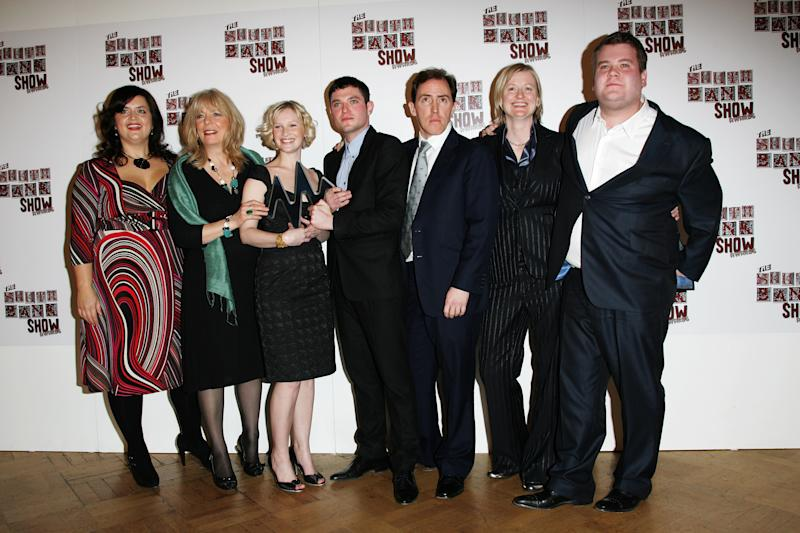 LONDON - JANUARY 29: Ruth Jones, Alison Steadman, Joanna Page, Mathew Horne, Rob Brydon, and James Corden pose with the award for Comedy for Gavin & Stacey during the South Bank Show Awards 2008 at The Dorchester on January 29, 2008 in London, England. (Photo by Gareth Cattermole/Getty Images)