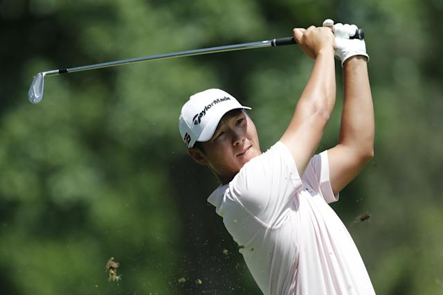 Danny Lee of New Zealand drives off the ninth tee during the first round of the Rocket Mortgage Classic golf tournament, Thursday, June 27, 2019, in Detroit. (AP Photo/Carlos Osorio)