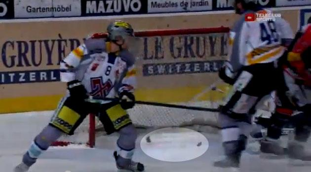 Puck splits in half on goal in Swiss hockey league