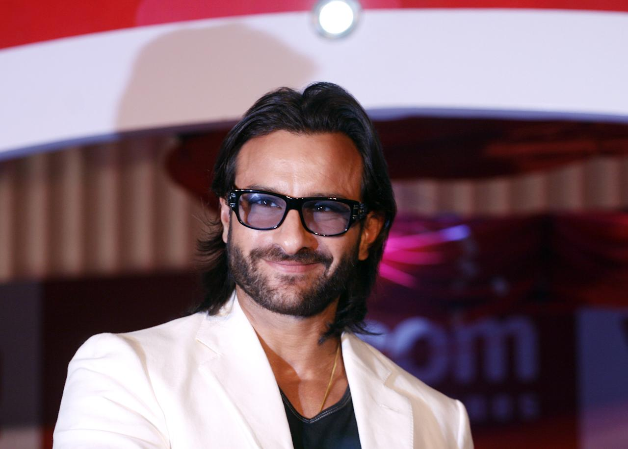 MUMBAI, INDIA - MAY 21: Bollywood actor Saif Ali Khan attends a press conference at the launch of Wynncom mobile phones on May 21, 2010 in Mumbai, India. (Photo by Solaris Images/Getty Images)