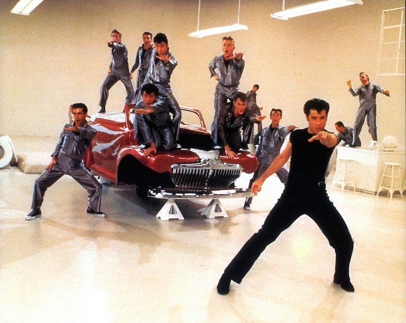 Michael Tucci, Barry Pearl, Jeff Conaway, John Travolta and others dance in a scene from the film 'Grease', 1978. (Photo by Paramount/Getty Images)