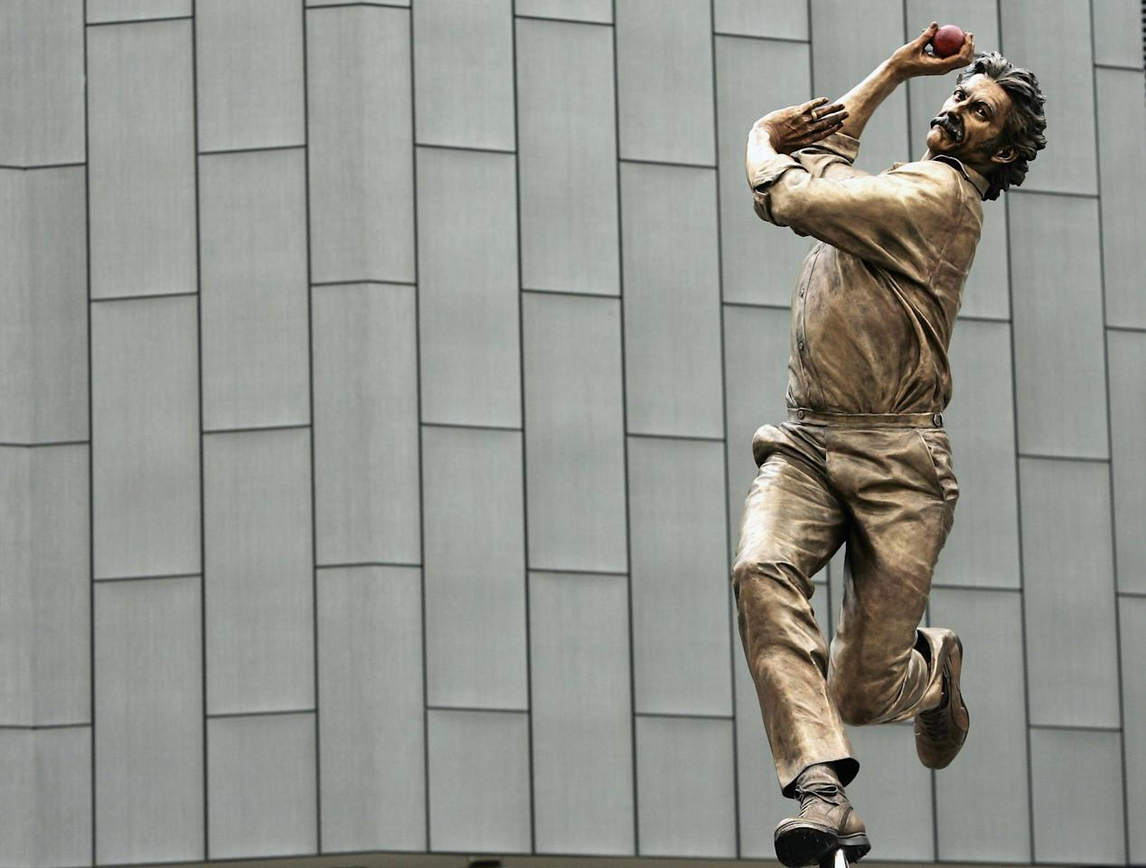 MELBOURNE, AUSTRALIA - DECEMBER 22:  A bronze statue of former Australian cricketer Dennis Lillee is seen in front of the MCG as part of the Walk of the Champions at the Melbourne Cricket Ground December 22, 2006 in Melbourne, Australia. Lillee retired in 1984 with a then record of 355 test wickets.  (Photo by Robert Cianflone/Getty Images)