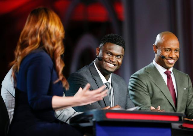 Duke's Zion Williamson is interviewed by ESPN during the NBA draft lottery on Tuesday. (AP)