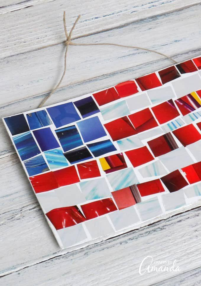 """<p>Have some old magazines lying around? Grab some scissors and make an eye-catching flag mosaic out of them. </p><p><strong><em>Get the tutorial from <a href=""""https://craftsbyamanda.com/magazine-mosaic-flag/"""" rel=""""nofollow noopener"""" target=""""_blank"""" data-ylk=""""slk:Crafts by Amanda"""" class=""""link rapid-noclick-resp"""">Crafts by Amanda</a>. </em></strong></p>"""