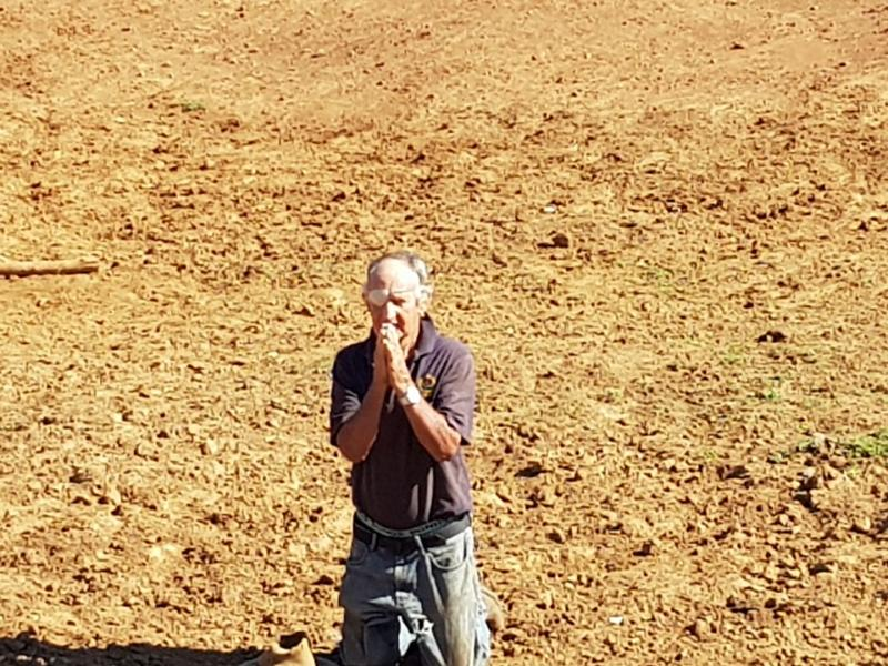 Alf King prays for rain in a dry dam on his beef property at Doctor's Creek Speckled Park in NSW. Source: Rhonda King
