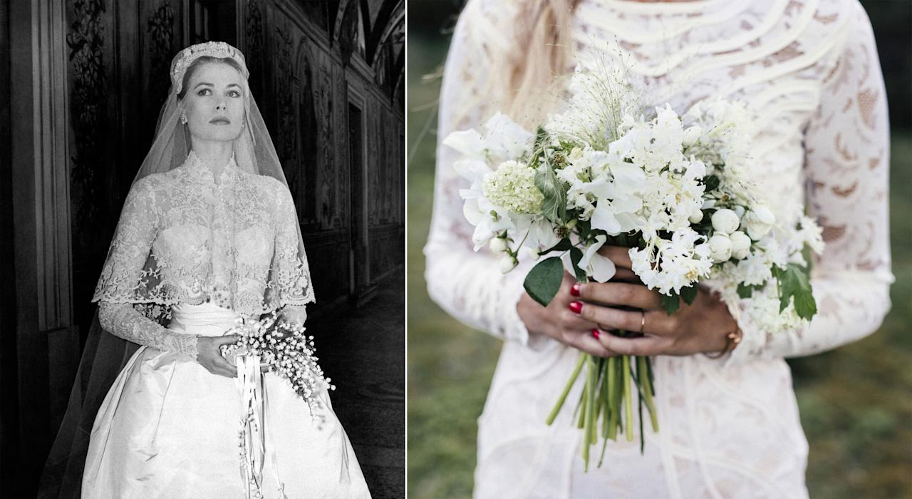 "<p>While brides in recent years have experimented with the ""naked dress"" trend, a <a rel=""nofollow"" href=""http://www.countryliving.com/life/g4404/modest-wedding-dress-trend/"">more modest look</a> has remained most enduring: wedding dresses with long sleeves, à<span></span> la <a rel=""nofollow"" href=""http://www.countryliving.com/life/entertainment/a43148/grace-kelly-prince-rainier-monaco/"">Grace Kelly</a> (pictured at left), <a rel=""nofollow"" href=""http://www.countryliving.com/life/a38699/prince-william-kate-middleton-wedding-anniversary/"">Kate Middleton</a>, and <a rel=""nofollow"" href=""http://www.countryliving.com/life/a42802/jackie-kennedy-shoes/"">Jacqueline Kennedy Onassis</a><span>.</span><span></span></p>"