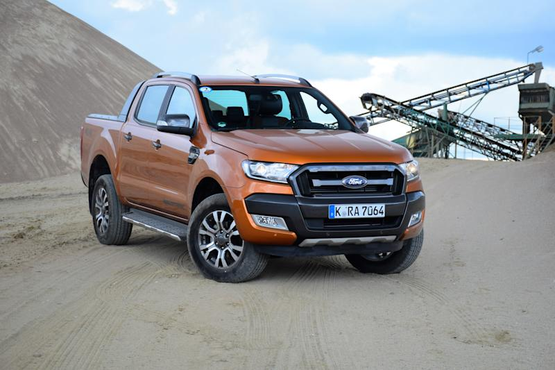 Pultusk, Poland - April, 25th, 2015: Ford Ranger Wildtrack stopped on the unmade road. The newest generation of Ranger was debut in 2011 on the market. The Ranger is powered by 2,2-litre diesel engine (pushing out 130 HP and 160 HP) or V6, 3.2-litre diesel engine (200HP).