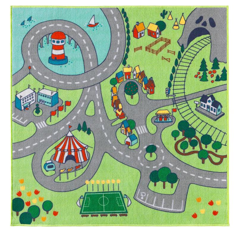 "This colourful rug doubles as a play mat, perfect for all those toys cars and trains you're already tripping over. Get it at <a href=""https://www.ikea.com/ca/en/p/stadsdel-rug-30361910/"" target=""_blank"" rel=""noopener noreferrer"">Ikea</a> for $25.99."