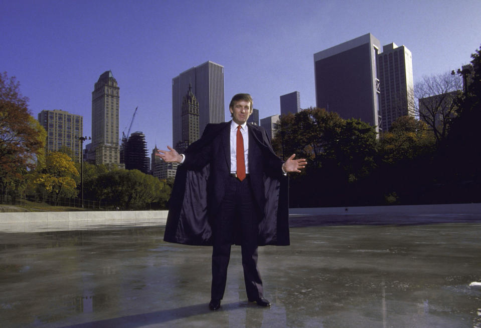 Donald Trump posing for a portrait at the Kate Wollman Memorial Rink which he oversaw renovations on. (Photo: Ted Thai/The LIFE Picture Collection/Getty Images)