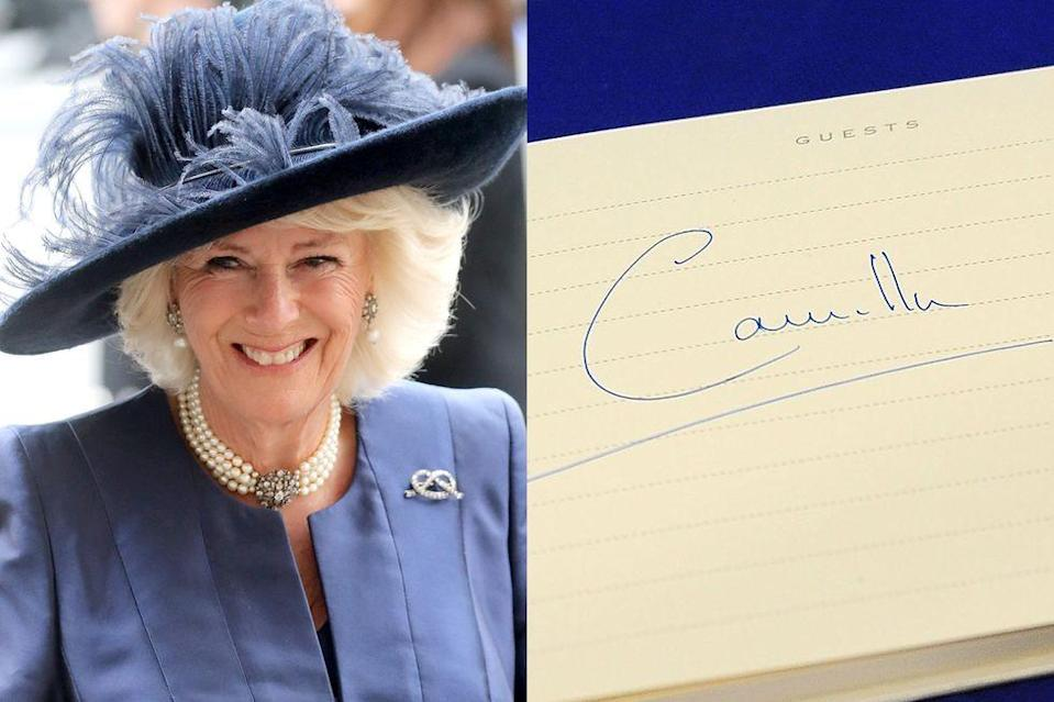 <p>Unlike her husband, Camilla gives precedence to the first letter in her name.</p>
