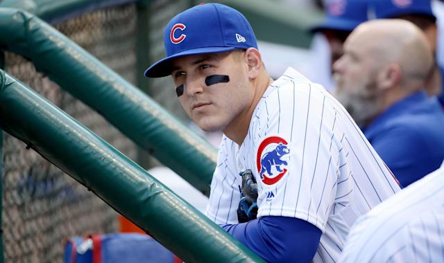 Anthony Rizzo offered his support while pleading for real change during a vigil for the victims of the horrific Valentine's Day shooting at Marjory Stoneman Douglas High School in Parkland, Florida. (AP)