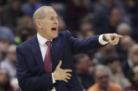 Cleveland Cavaliers head coach John Beilein yells instructions to players in the first half of an NBA basketball game against the Oklahoma City Thunder, Saturday, Jan. 4, 2020, in Cleveland. (AP Photo/Tony Dejak)