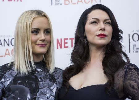"""Cast members Laura Prepon (R) and Taylor Schilling attend the season two premiere of """"Orange is the New Black"""" in New York May 15, 2014. REUTERS/Eric Thayer"""