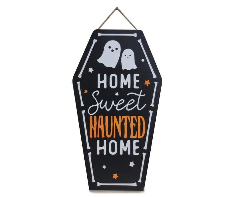 <p>Come back from your exhausting lecture to this <span>Home Sweet Haunted Home Coffin and Ghost Hanging Wall Decor</span> ($14) on your dorm room door to really get in the October spirit.</p>
