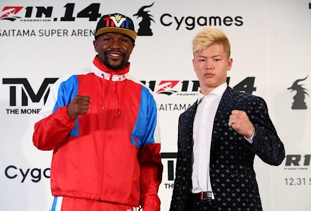 The match-up between US boxer Floyd Mayweather Jr and Japanese kickboxer Tenshin Nasukawa was called off earlier this month (AFP Photo/Handout)