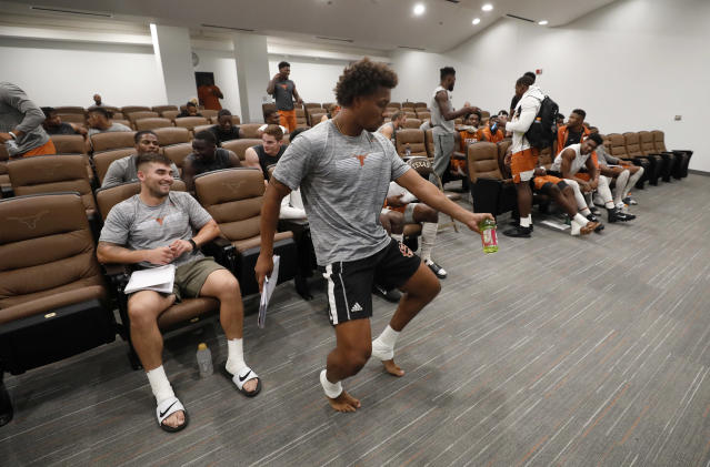 Texas Longhorns' Jordan Pouncey dances before a meeting Wednesday Sept. 4, 2019 in Austin, Tx. ( Photo by Edward A. Ornelas )