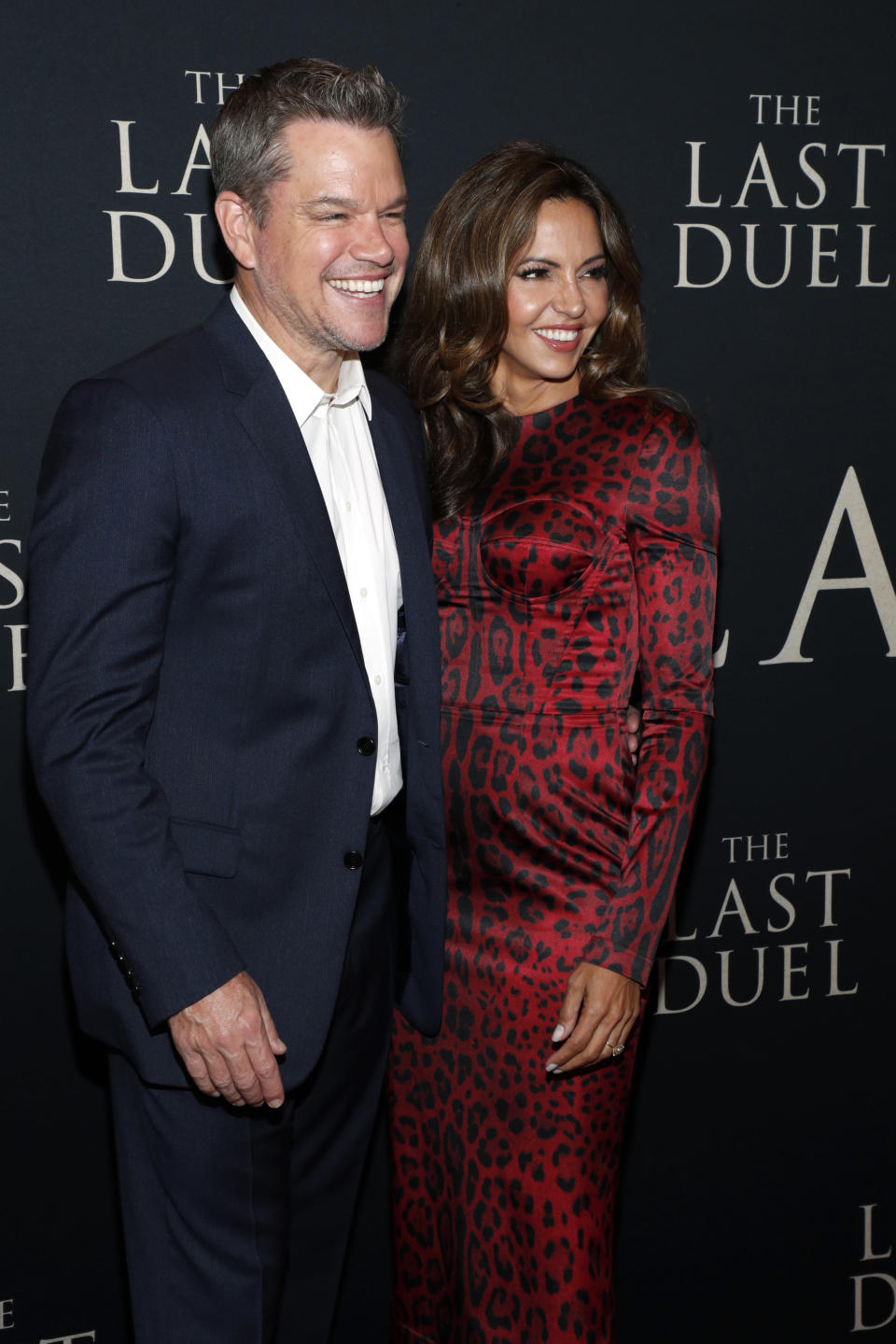NEW YORK, NEW YORK – OCTOBER 09: Matt Damon (L) and Luciana Barroso attend The Last Duel New York Premiere on October 09, 2021 in New York City. (Photo by Astrid Stawiarz/Getty Images for 20th Century Studios) - Credit: Getty Images for 20th Century Studios
