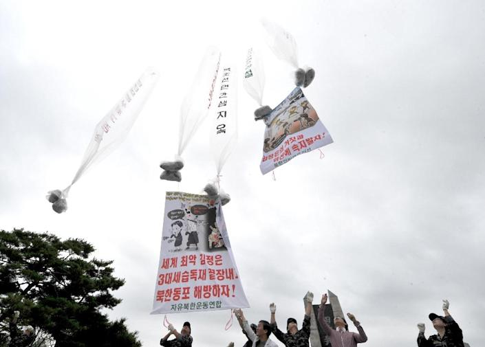 South Korean activists launched giant balloons carrying leaflets criticising Kim Jong-Un during a 2012 propaganda campaign against the North Korean leader (AFP Photo/Kim Jae-Hwan)