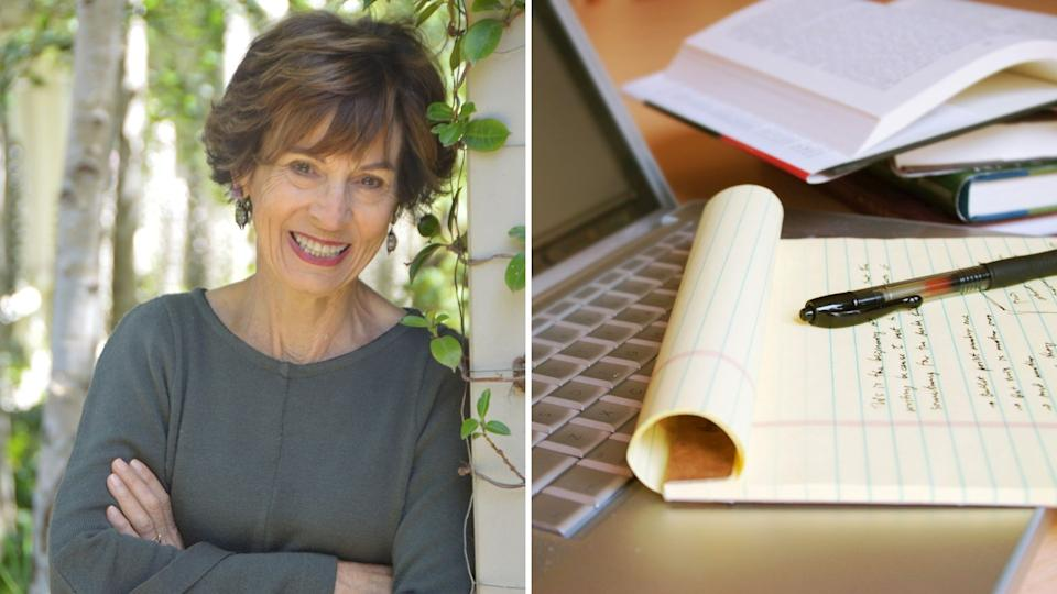 Suzanne McCourt smiles while leaning on a wall with ivy, pen and paper with writing on it, laptop.