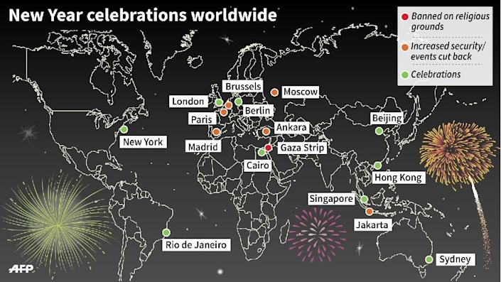 World map detailing some of the main New Year celebrations around the world. 135 x 77 mm (AFP Photo/Jean Michel CORNU, Vincent LEFAI)