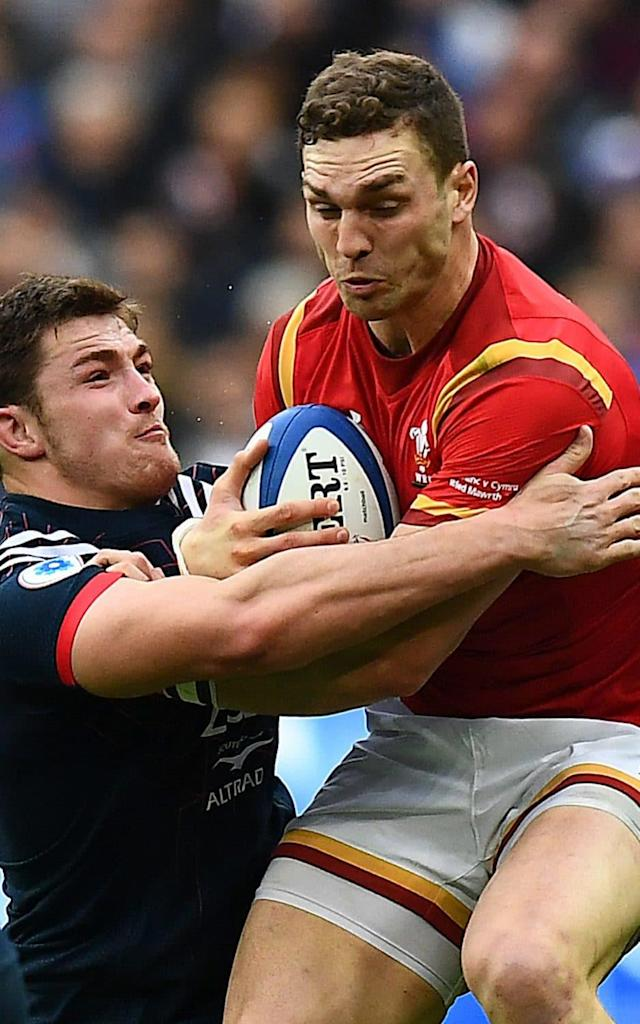 <span>George North power through the French defence</span> <span>Credit: FRANCK FIFE/AFP/Getty Images </span>