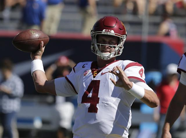 "<a class=""link rapid-noclick-resp"" href=""/ncaaf/players/225575/"" data-ylk=""slk:Max Browne"">Max Browne</a> started USC's first three games at quarterback. (AP Photo/Rick Scuteri)"