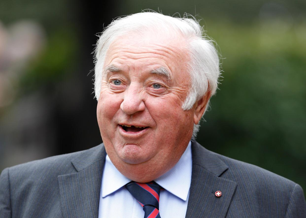 SHIRLEY, UNITED KINGDOM - APRIL 18: (EMBARGOED FOR PUBLICATION IN UK NEWSPAPERS UNTIL 48 HOURS AFTER CREATE DATE AND TIME) Jimmy Tarbuck attends the funeral of entertainer Ronnie Corbett at the church of St John the Evangelist on April 18, 2016 in Shirley, England. Ronnie Corbett, one of Britain's most popular comedians, best known for 'The Two Ronnies', his double-act with Ronnie Barker, died on March 31, aged 85. (Photo by Max Mumby/Indigo/Getty Images)