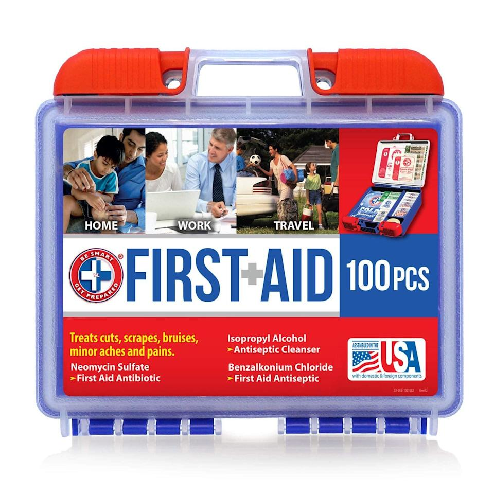 <p>Keep a first aid kit with you, like the <span>Be Smart Get Prepared 100 Piece First Aid Kit</span> ($9), in case you or any other passenger falls ill or gets injured.</p>