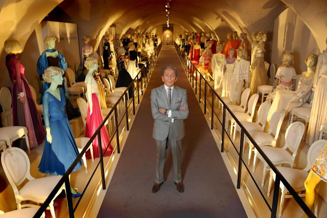 LONDON, ENGLAND - NOVEMBER 28: Fashion designer Valentino Garavani poses beside exhibits during a press preview of the 'Valentino: Master of Couture' exhibition at Somerset House on November 28, 2012 in London, United Kingdom. Celebrating the life and work of the Italian master couturier, the show features over 130 hand crafted designs worn by Hollywood icons and Royalty. The exhibition runs from November 29, 2012 - March 3, 2013. (Photo by Peter Macdiarmid/Getty Images for Somerset House)