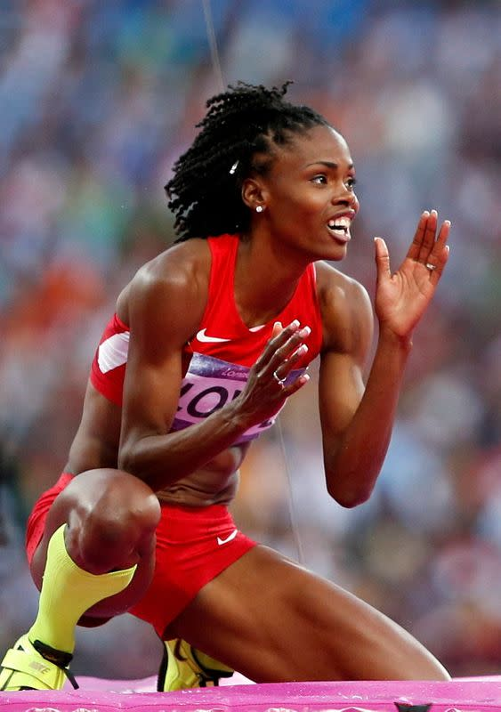 FILE PHOTO: Chaunte Lowe of the U.S. reacts as she competes in the women's high jump final at the London 2012 Olympic Games