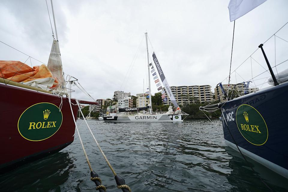 """Garmin"" sails out of the CYCA in preparation for the 2017 Sydney to Hobart on December 26, 2017 in Sydney, Australia: Brett Hemmings/Getty Images"