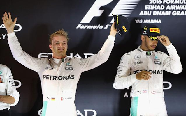 <span>2016 champion Nico Rosberg (left) has retired, leaving the drivers' crown undefended</span> <span>Credit: Clive Mason/Getty  </span>