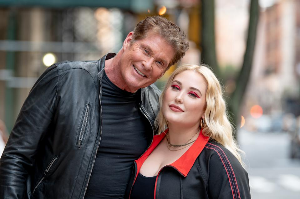 NEW YORK, NEW YORK - JULY 08:  David Hasselhoff with Hayley Hasselhoff as she promotes plus size activewear collection at Marina Rinaldi Boutique on July 08, 2019 in New York City. (Photo by Roy Rochlin/Getty Images)