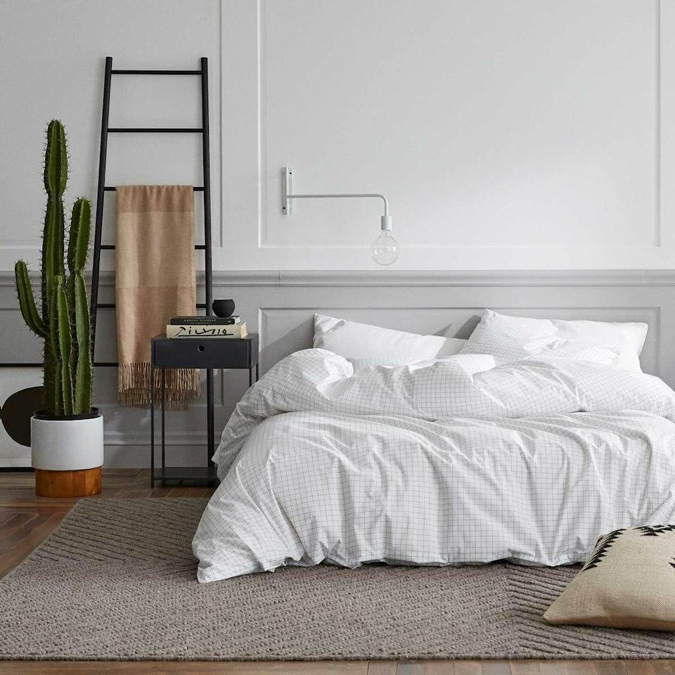 """<p><strong>Brooklinen</strong></p><p>brooklinen.com</p><p><a href=""""https://go.redirectingat.com?id=74968X1596630&url=https%3A%2F%2Fwww.brooklinen.com%2Fproducts%2Fclassic-duvet-cover-last-call&sref=https%3A%2F%2Fwww.womenshealthmag.com%2Flife%2Fg35699619%2Fbrooklinen-sheets-sale%2F"""" rel=""""nofollow noopener"""" target=""""_blank"""" data-ylk=""""slk:Shop Now"""" class=""""link rapid-noclick-resp"""">Shop Now</a></p><p><strong><del>$109 — $135</del> $87 — $108 (20% off)</strong></p><p>This lightweight cover will add some style to your bed without leaving you all hot and bothered come morning.</p>"""