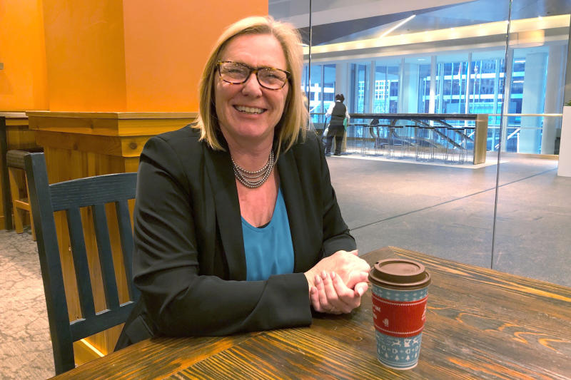 In this Nov. 22, 2019 photo, GOP congressional candidate Michelle Fischbach discusses Minnesota's 7th District race at a coffee shop in Minneapolis. Fischbach, a former lieutenant governor who served for 22 years in the Minnesota Senate, is running for the seat held by Democratic Rep. Collin Peterson. (AP Photo/Steve Karnowski)