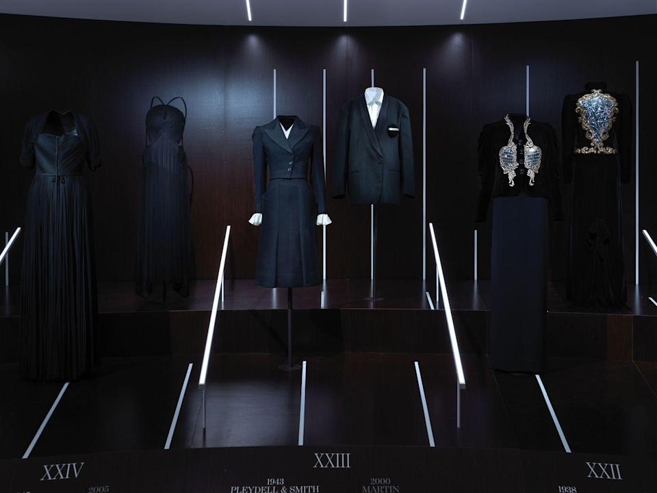 "<p>From left to right: 1945 Madame Gres evening dress, 2005 Yohji Yamamoto ensemble, 1943 Pleydell & Smith and Bertha Black Lewry dinner suit, 2000 Martin Margiela jacket, 1938 Elsa Schiaparelli evening jacket, 1978 Yves Saint Laurent ""Broken Mirrors"" ensemble.</p>"