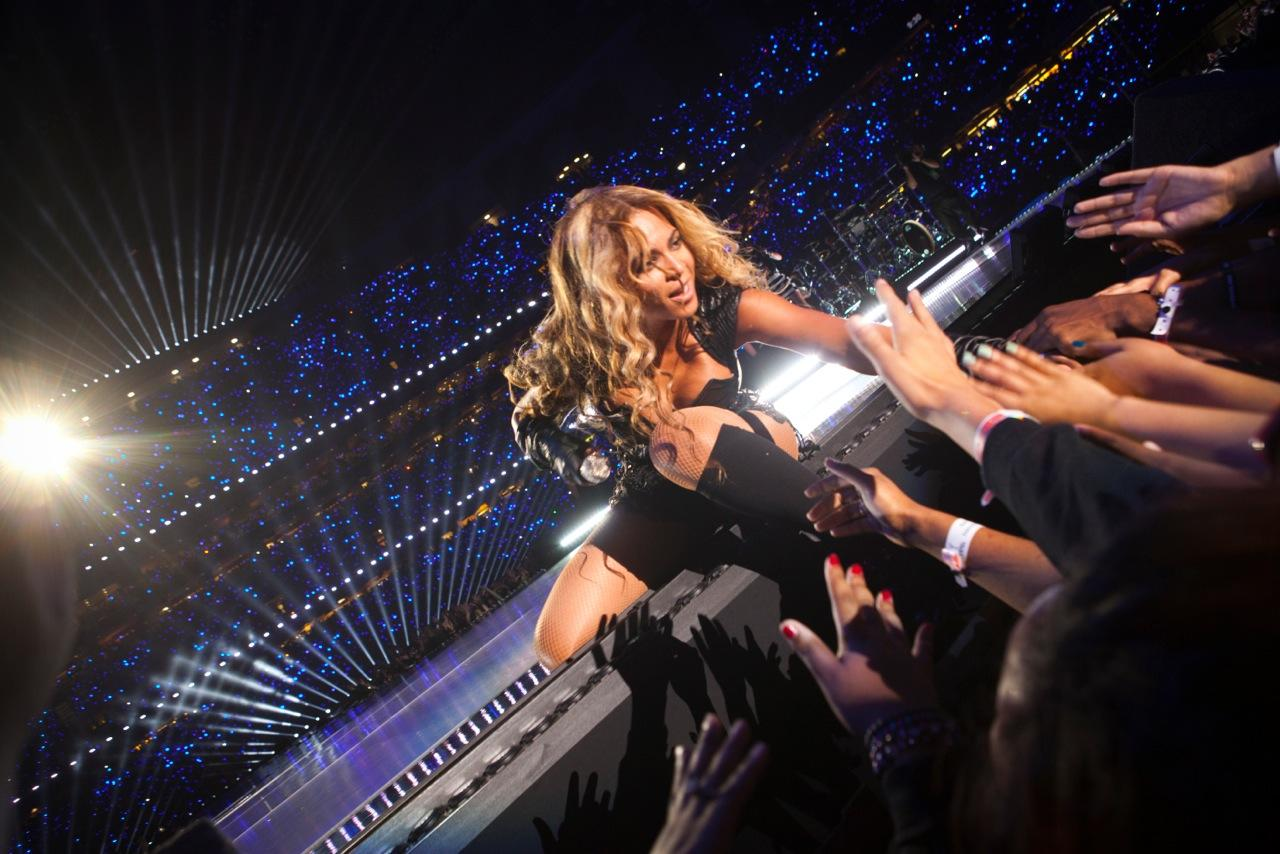 Bey works the enthusiastic crowd during her Super Bowl halftime show.
