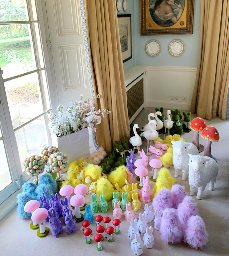 Lambs, fluffy chicks, mushrooms, flamingos and eggs of all shapes and sizes adorn my dining room…we are Easter Ready!