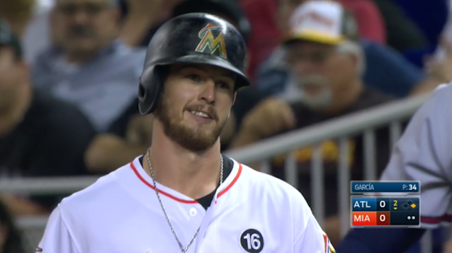 Even J.T. Riddle can't believe how his first hit happened. (MLB.TV)