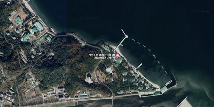 Satellite image of Kim Jong-Un's luxury compound in Wonsan, North Korea, as of 2021