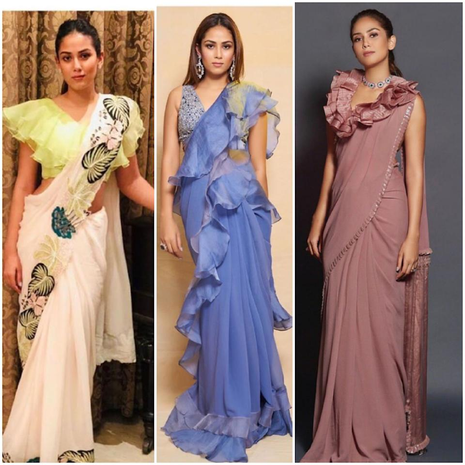 The 25-year-old diva has been spotted multiple times in very interesting drapes of sarees. Her distinct style is noted for the abundant use of ruffles, be it on the blouse or the hem of the saree. She always reaches for the light-weight chiffon fabric in solid colors. Not big on accessories, she mostly settles for just one piece of jewelry, either the neck-piece or danglers in the ears. This trend could be an inspiration for the fresh lot of saree-wearers who are in their late teens of early twenties.