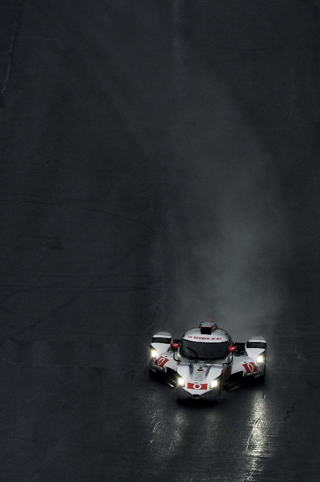 Katherine Legge, of England, drives the DeltaWing DWC13 during practice for the American Le Mans Series' Petit Le Mans auto race at Road Atlanta, Thursday, Oct. 17, 2013, in Braselton, Ga. (AP Photo/Rainier Ehrhardt)