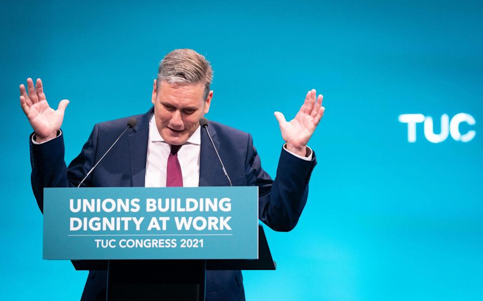 Sir Keir Starmer, the Labour leader, speaking at the TUC congress in London